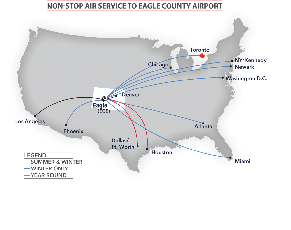 Airlines routes across the us to and from Eagle county regional airport