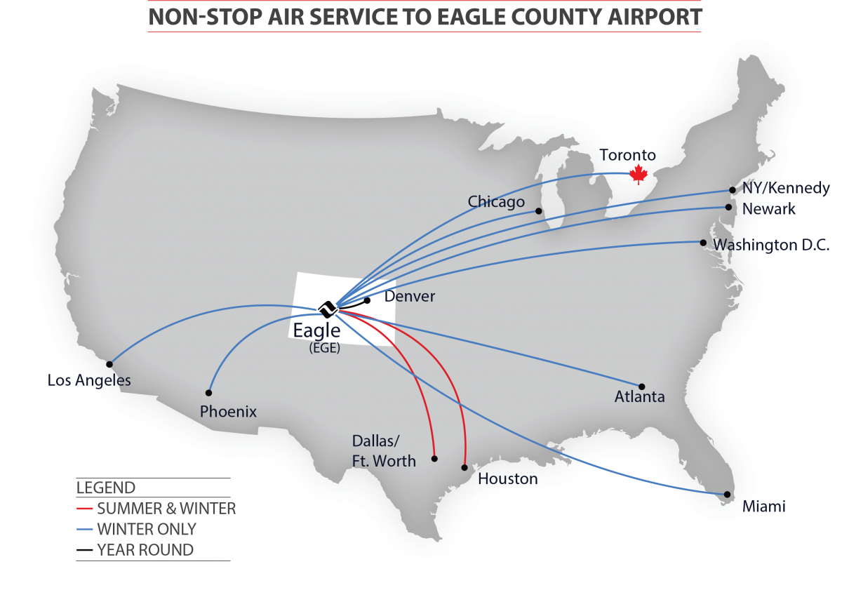 Airline Flight Route Map FlyVail - Los angeles route map